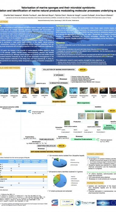 Valorisation of marine sponges and their microbial symbionts: Isolation and identification of marine natural products modulating molecular processes underlying aging
